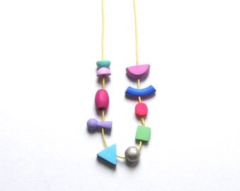 Colerful wooden necklace ,beads colourful, one of a kind, jewellery, hand made, for her, gift,