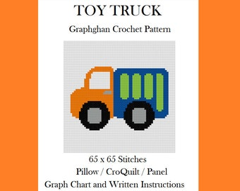 Toy Truck - Graphghan Crochet Pattern - Pillow / Panel / CroQuilt