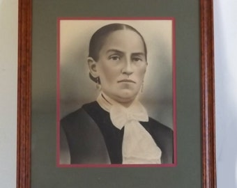 Antique Charcoal Portrait of Stern Looking Woman, Modern Wood Frame