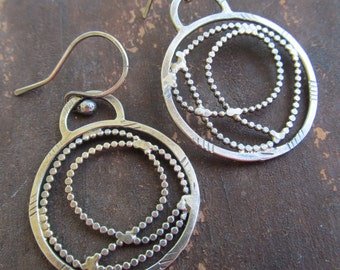 Silver Hoop Earrings Funky stamped scribble Sterling Hoop Earrings Medium Dangles Dangling Earrings Boho Silver Jewelry