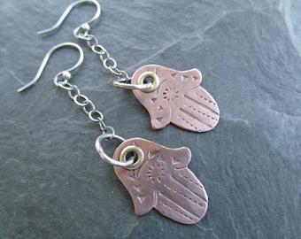 HAMSA Earrings Long Dangling Earrings Stamped Funky Sterling Riveted dangling Hand earrings