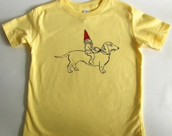 ON SALE Dachshund & Gnome Toddler Tee Shirt- Hand Printed Cotton-Yellow- Kids funny tee shirt, Sizes  2T - 5/6