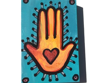 Love Hamsa Painting - Heart in Hand Art - Hamsa Wall Art - 4 x 6 inches, blue, yellow, red judaica, wall art decor by Claudine Intner