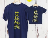 Personalised Cycling T shirt Set, Fathers Day Gift, Dad T shirt Set, Dad and Child T shirt set, personalised t shirt, cycling t shirt
