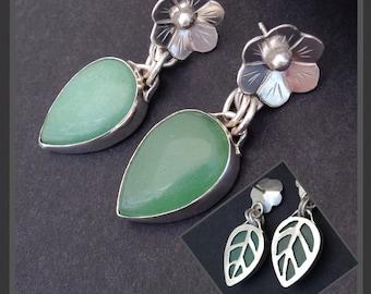 Chrysoprase Earrings, Silversmith Flower Earrings Sterling Silver Green Earrings Hand Wrought Floral Earrings, Green Stone Artisan Earrings