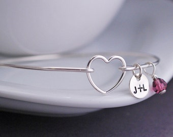 Heart Bracelet, Personalized Anniversary Jewelry, Love Initial Bangle Bracelet, Heart Jewelry, Wife Gift