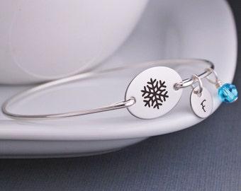Snowflake Bracelet, Custom Snowflake Jewelry, Winter Wedding Jewelry, Bangle Bracelet, Christmas Gift,