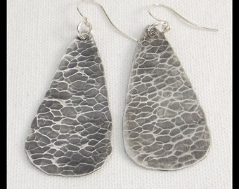 HAMMERED TEARDROPS - Handforged Hammered Oxidized Long Pewter Statement Earrings