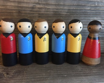 Star Trek Pegbuddies, Star Trek Toys, Star Trek birthday, PegBuddies, Captian Kirk, Scotty, Sulu, Uhura, McCoy, Spock