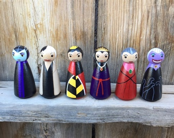 """Villains for Princess Peg People - Set of 6 Wooden Hand Painted - 3.5"""" Maleficent, Cruella DeVil, Ursula, Queen of Hearts, Evil Queen"""