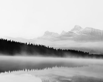 "Black and White Landscape Photography, Fog on Two Jack Lake in Banff, Fall Photography, Mountain Print, Minimalist Art ""Mistful"""