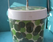 Vintage Ice Bucket Thermo Serv West Bend Cocktail Hour Mod RW Style Green Polka Dot Barware with Lid