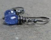 Tanzanite Earrings Minimalist Earrings Petite Earrings Oxidized Sterling Silver Earrings Gift for Her Lavender Earrings