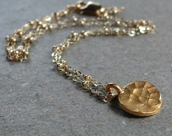 Gold Necklace Hammered Charm Layering Simple Minimalist Gift for Her Gift for Girlfriend