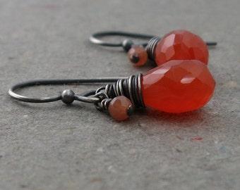 Carnelian Earrings Peach Moonstone Orange Gemstones Oxidized Sterling Silver Earrings Gift for Wife Gift for Girlfriend