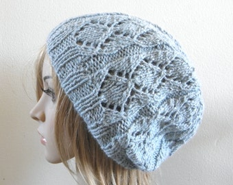 Lacy beret slouchy hat hand knit silk angora in light icy mint blue pale sky knitted lux softest warm women beanie READY MADE