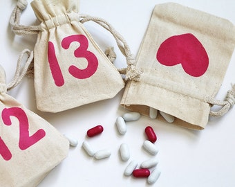 Valentine's Day Muslin Party favors. 14 days of love count down calendar. Wedding favors. heart fabric draw string gift bags. Natural muslin