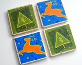 RESERVED for Jenny only - Tumbled Stone Earth Coasters - Holiday Coasters - art papers, holiday, Christmas, deer, pine tree, home decor