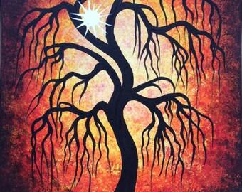 Wall Art, Tree painting, Autumn Willow tree, Original Acrylic painting