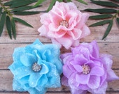 Assorted Crystal Sparkle Roses, Flat Fit Rose Hair Clip, Pinup Hair Accessorie