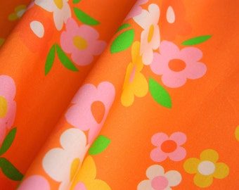 Retro 1960s Florals Collections Posies on Orange - Fat Quarter 55cm x 50cm