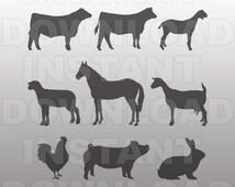 Stock Show Animals Collection SVG File,Farm Animals Collection SVG File-Vector Art for Commercial & Personal Use Cricut,Silhouete,Vinyl