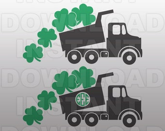 St Patricks Dump Truck SVG File,St Patricks Day SVG,Cutting Template-Vector Clip Art-Commercial & Personal Use-Cricut,Cameo,Silhouette
