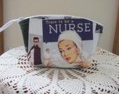 Nurse Retro RN Essential Oils Case Purse Cosmetic Bag Zipper Clutch