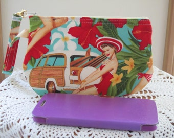 Aloha Girls Clutch Made in the USA  Wristlet Zipper Gadget Pouch Retro Pin Up Girls