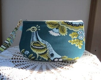Clutch Wristlet Zipper Gadget Pouch Smart Phone Bag Royal Garden in Blue
