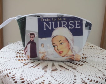 Nurse Retro RN Essential Oils Case Purse Cosmetic Bag Zipper Clutch