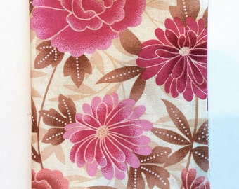 Fabric paperback Book Cover, Standard Size Book Cover, Flower Print Fabric, Pink Floral Paperback Book Cover, Fabric Book Cover, Cover Book