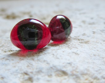 Post Earrings, Fused Glass Post Earrings, Red and Green  Earrings,  Handmade Glass Earrings