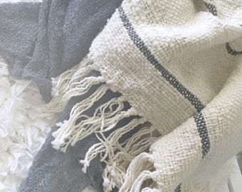 HAND WOVEN MERINO Baby Blanket Soft Gray