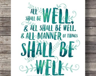 All shall be well | Julian of Norwich quote print | Watercolor typography print |   Printable watercolor typography wall art