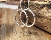 Sophie Hoops, Tiny Hoop Earrings, Sterling Silver Hammered Earrings For Her (ID-010816a)