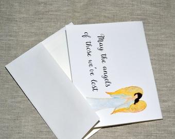 Watercolor Angel Printed Sympathy Card with envelope