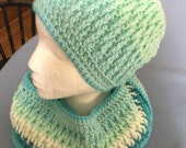 Crochet Hat, and Infinity Scarf, Cowl ,In Shades of Turquoise Caron Cakes