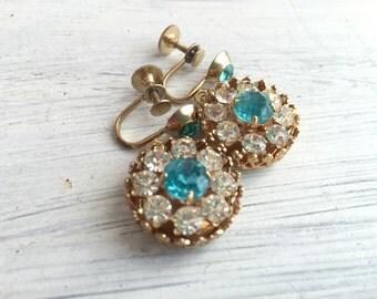 Something Blue No.94 - Vintage Screw Back Crystal and Rhinestone Earrings in Aqua Blue