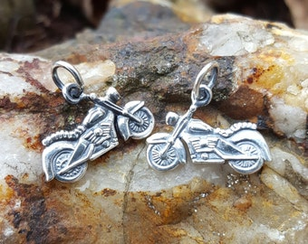 Motorcycle Necklace Charm - Silver Motorcycle Bracelet Charm