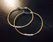 Medium Forged Brass Hoops with Silver Heishi