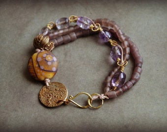 Ametrine Beaded Bracelet with Lampwork focal