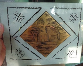 A Wonderful Antique Etching /Painting on Glass   Hand Painted Vintage Etching on Glass