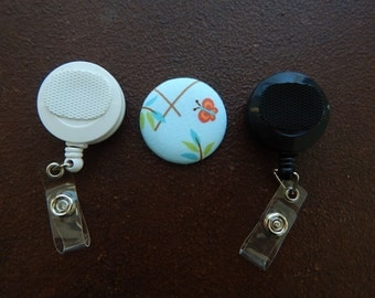 Fabric Covered Button for Clip on Retractable Badge Reel - Butterfly