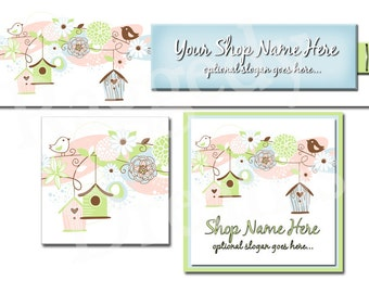 New! Premade Etsy Cover Photo - Large Etsy Banner - Etsy Shop Banner - SHOP ICON - Shop Profile - Simple Birdhouse Flowers Collection