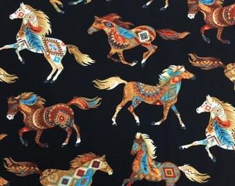 Timeless Treasures SW Design Horses Natural/Black, 1 Yard