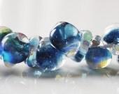 40% Off Sale 10mm Unicorne Tear Drop Lampwork Beads - Sparkling Sapphire - 4 Pieces - 21997