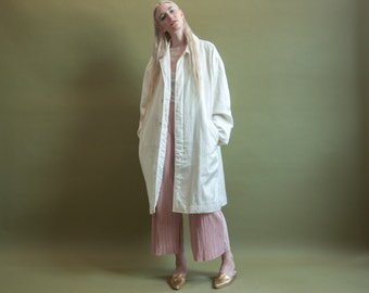 oversized white park coat / minimalist coat / white trench / m / l / 1009o / R3