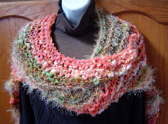 ON SALE Aloha Hand Knitted Shawl Wrap A Split Rock Ranch OOAK Original Design Cashmere Merino Alpaca Mohair Silk Bamboo Sequins