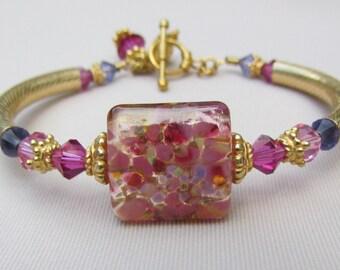 Pink Paradise Lampwork Bangle Bracelet